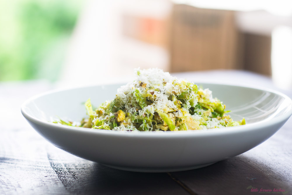 Brussels Sprout Salad with Pistachios and Pecorino makes for an elegant holiday side dish. The lemon Dijon vinaigrette gently wilts the sprouts and a coating of salty Pecorino cheese is added, rounding out all of the delicious savory flavors.