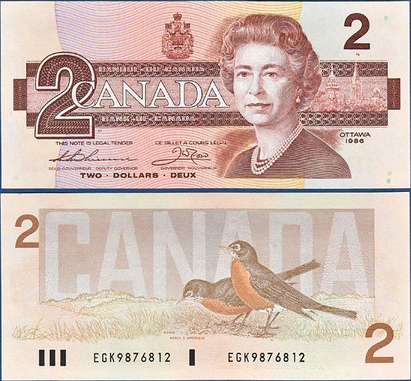 2 Doláre Kanada 1986, Pick 94b
