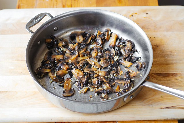 Cooking mushrooms in garlic, butter, and olive oil