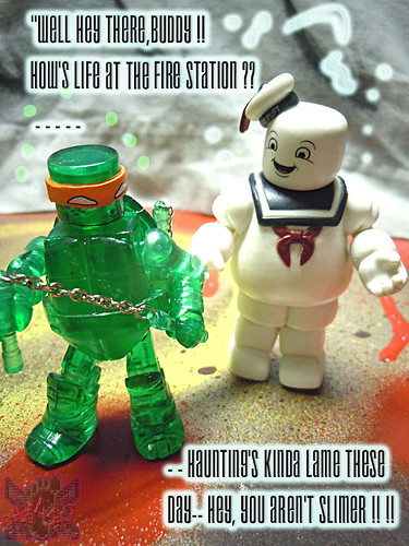 "Nickelodeon  TEENAGE MUTANT NINJA TURTLES ; MINIMATES :: MUTAGEN MICHELANGELO xvi / ..with Ghostbusters 'Stay Puft Marshmallow Man"" '09 (( 2014 ))"