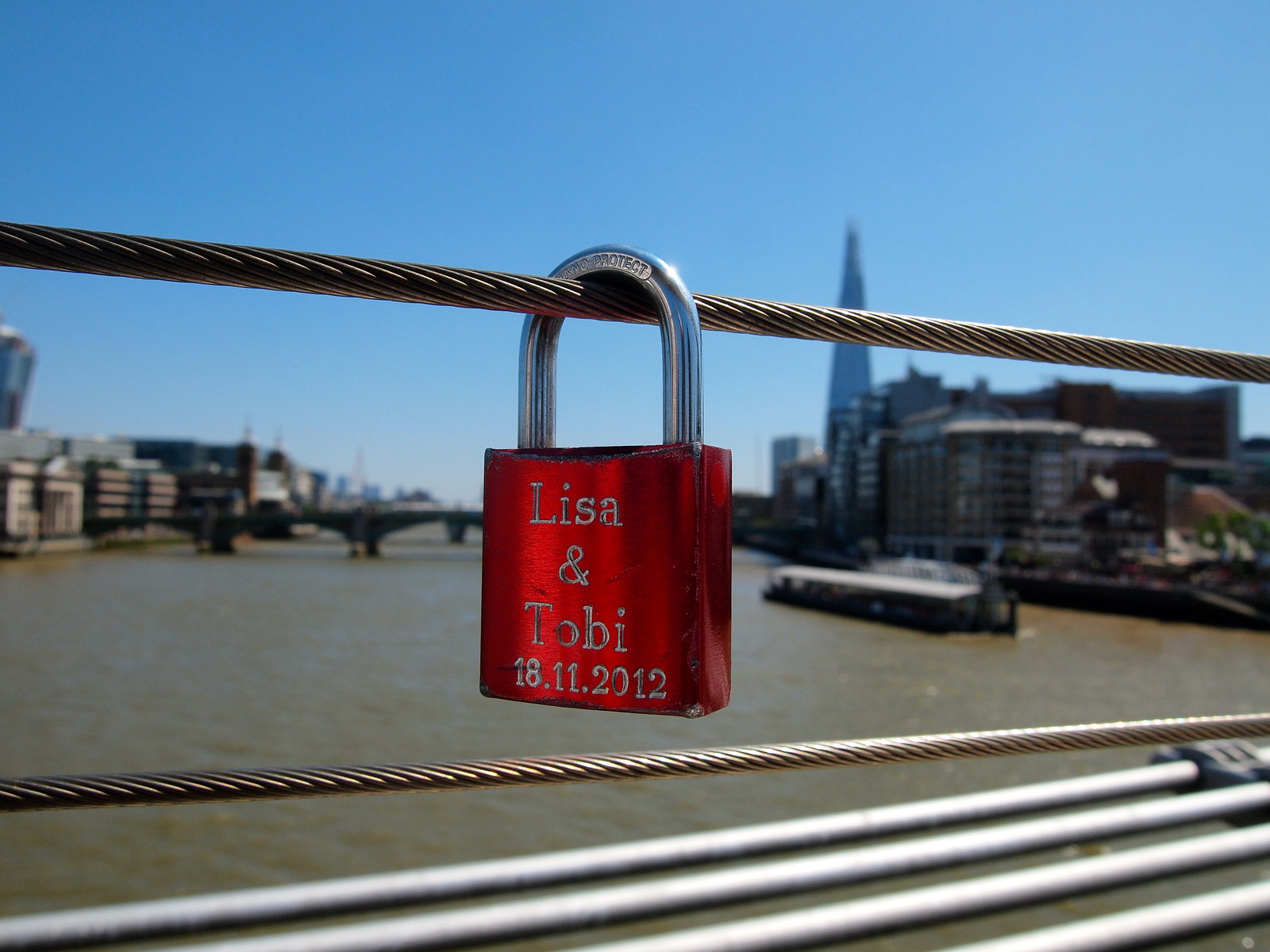 Love lock on Millennium Bridge in London