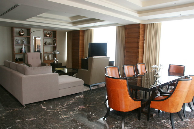 Living and dining area in Presidential Suite