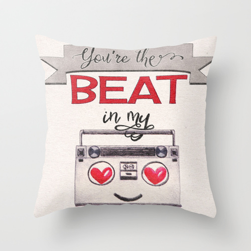You're the Beat in My Boombox - cushion by Squibble Design on Society6