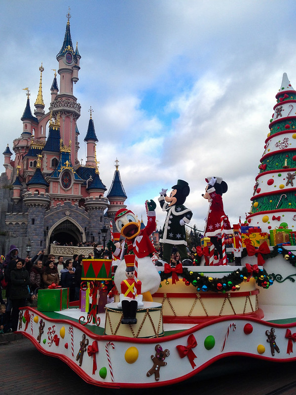 Mickey, Minnie and Donald in the Christmas Parade