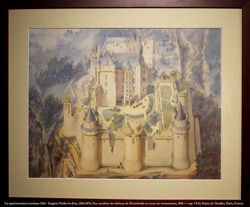 La représentation continue 1616 - Eugène Viollet-le-Duc, 1814-1879, Vue cavalière du château de Pierrefonds en cours de restauration, 1858 — exp. VLD, Palais de Chaillot, Paris, France