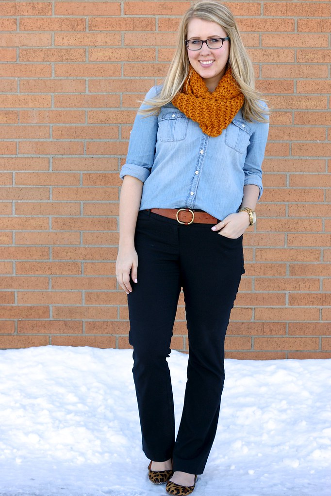 chambray shirt with yellow scarf and leopard flats