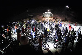 Riders line up for the WinterBike race. (Facebook/Copper Mountain)