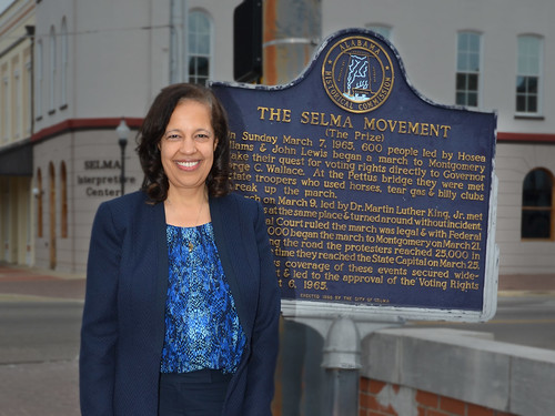 Under Secretary for Rural Development Lisa Mensah stands at the head of the historical trail where marchers began their trek across the Edmund Pettus bridge enroute to Montgomery, Alabama seeking voting rights for African-Americans.