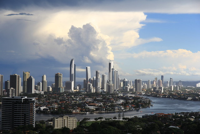 Gold Coast Skyline as a summer storm is cleaning up