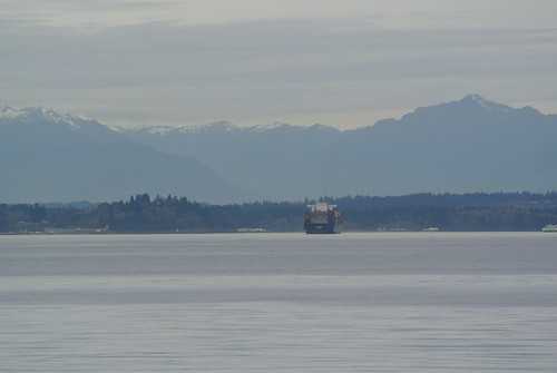 A Winter Picnic - Olympic Mountains across the water with container ship