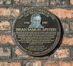 Photo of Brian Epstein brown plaque