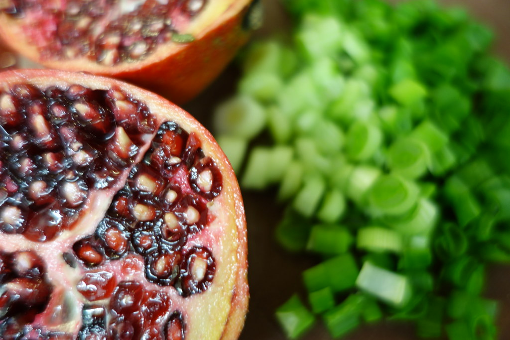 pomegranate and spring onion