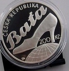 Czech Republic coin on Thomas Bata reverse