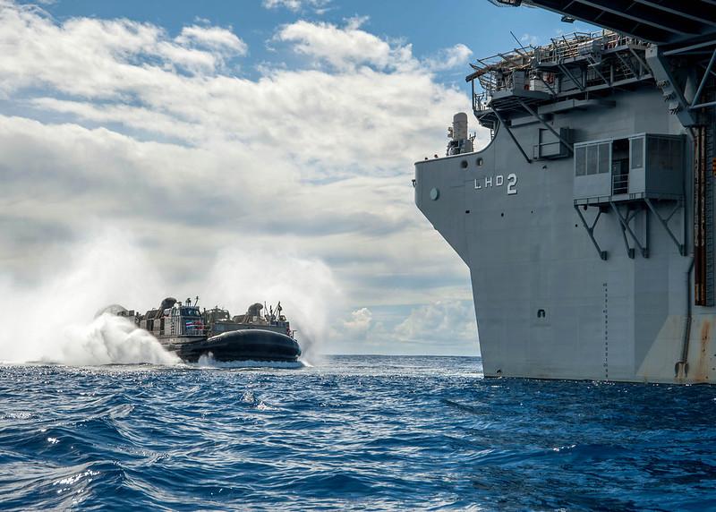 USS Essex conducts an amphibious assault exercise.