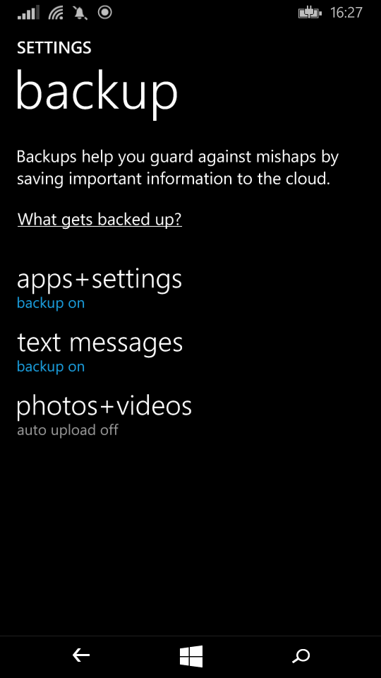 Settings backup