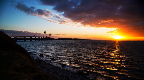 bridge sunset sea denmark seaside