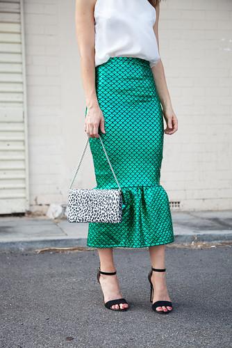 Peplum skirt with high neck top
