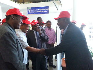 OARI inaguration_Azage Tegegne welcoming the regional president and higher officials to the LIVES booth
