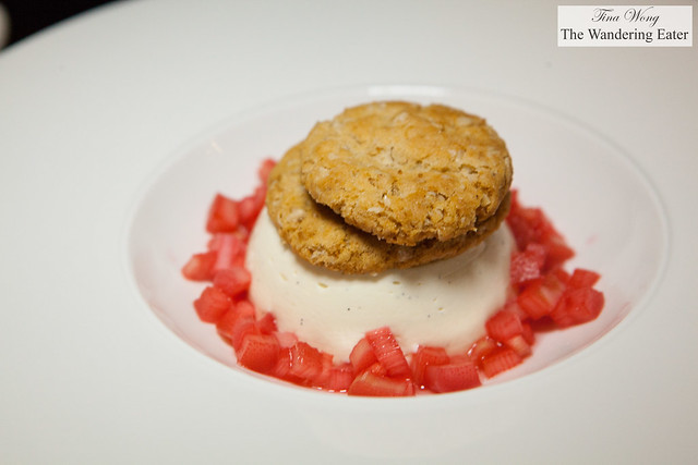Jersey cream vanilla panna cotta, Yorkshire forced rhubarb with ginger biscuits