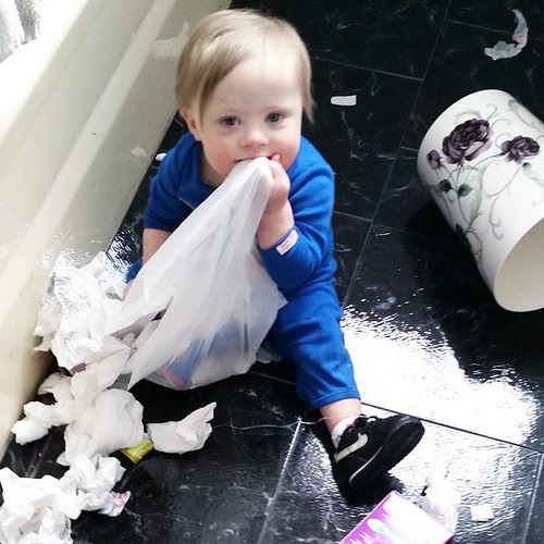 Someone forgot to shut the bathroom door. #toddlertornado