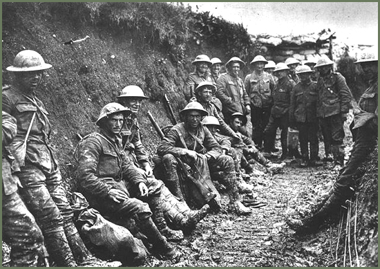 Soldiers in a First World War Trench