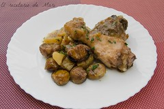 Pollo con salsa de higos y castañas