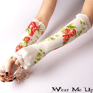 Wedding,  Bridal fingerless gloves, mittens, arm warmers with white lace - Victorian Classic red flowers silky shiny floral nature fairy #wedding #bridal #bride #gloves #armwarmers #mitten #lacegloves #lace #victorian #flowers #silky#shiny #floral #fairy