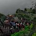 JEJU-DO KOREA - MAR 15: Many unidentified people go down a mountain with stair on March 15, 2014 in Jeju-do island , Korea.