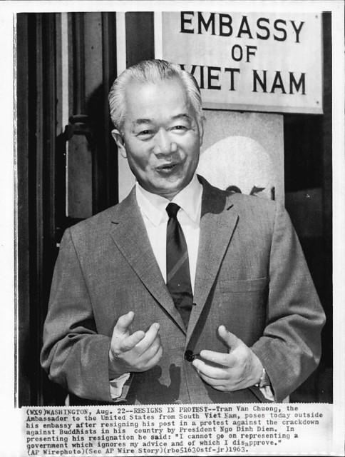 WASHINGTON (Aug. 22, 1963) - RESIGNS IN PROTEST - TỪ CHỨC ĐỂ PHẢN ĐỐI - Mr. Tran Van Chuong  (1898-1986)