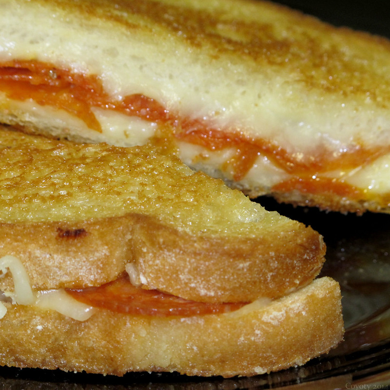 Pepperoni and mozzarella grilled cheese