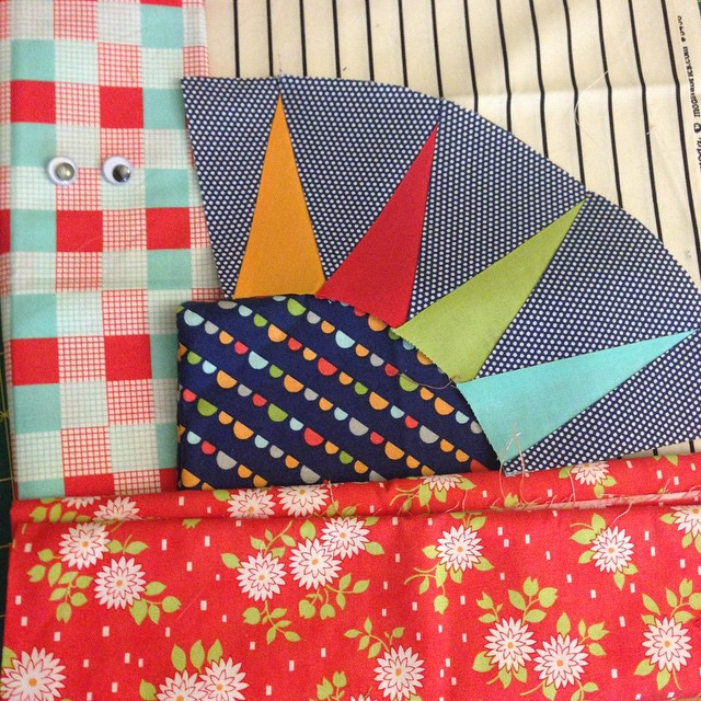 Riddle and {Whimsy} kitten mini swap WiP - Happy Go Lucky fabrics