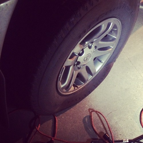 The bus got a flat! No exactly how we wanted to spend our Thursday night. #sequoia #Toyota #flattire