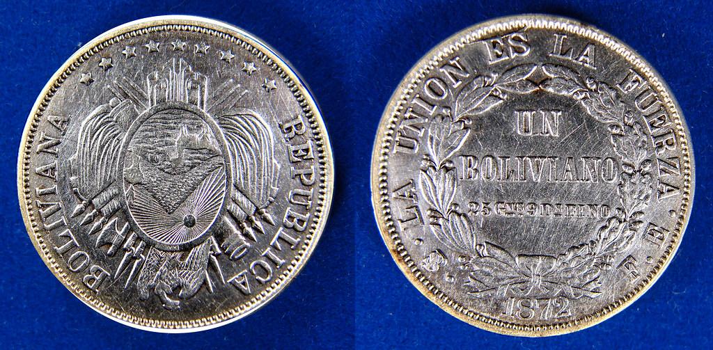 BOLIVIA 1872-PTS FE - 1 BOLIVIANO  16088031643_6a516e6ba7_b