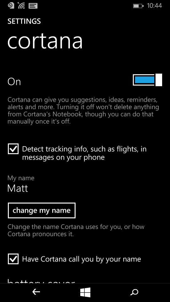 Cortana configuration