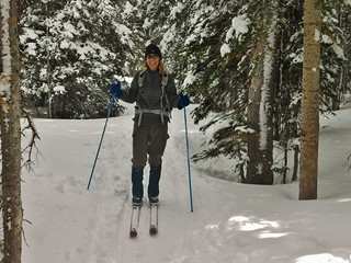 Carrie on Wooden Skis