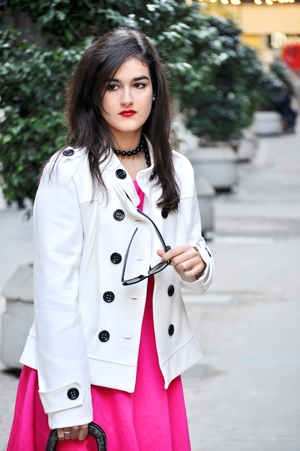 zara booties, something fashion modcloth valencia spain fashionblogger style, pink dress beloved white jacket blazer