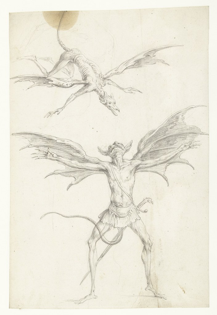 Cornelis Saftleven - Two winged mythical animals, mid 17th century