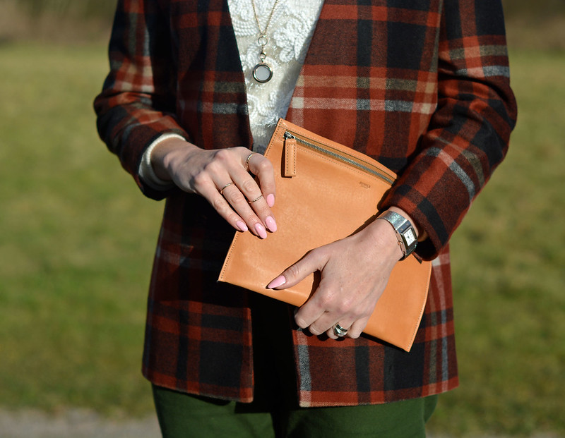 White lace roll neck, plaid jacket, camel leather pouch