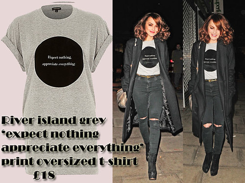 River Island grey slogan tee with ripped high waist denim jeans: How to wear
