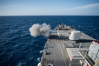 USS Donald Cook conducts a live-fire exercise.