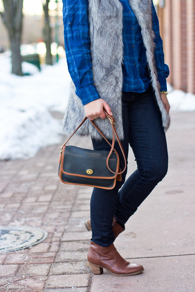 blue plaid shirt, fur vest, coach bag-9.jpg