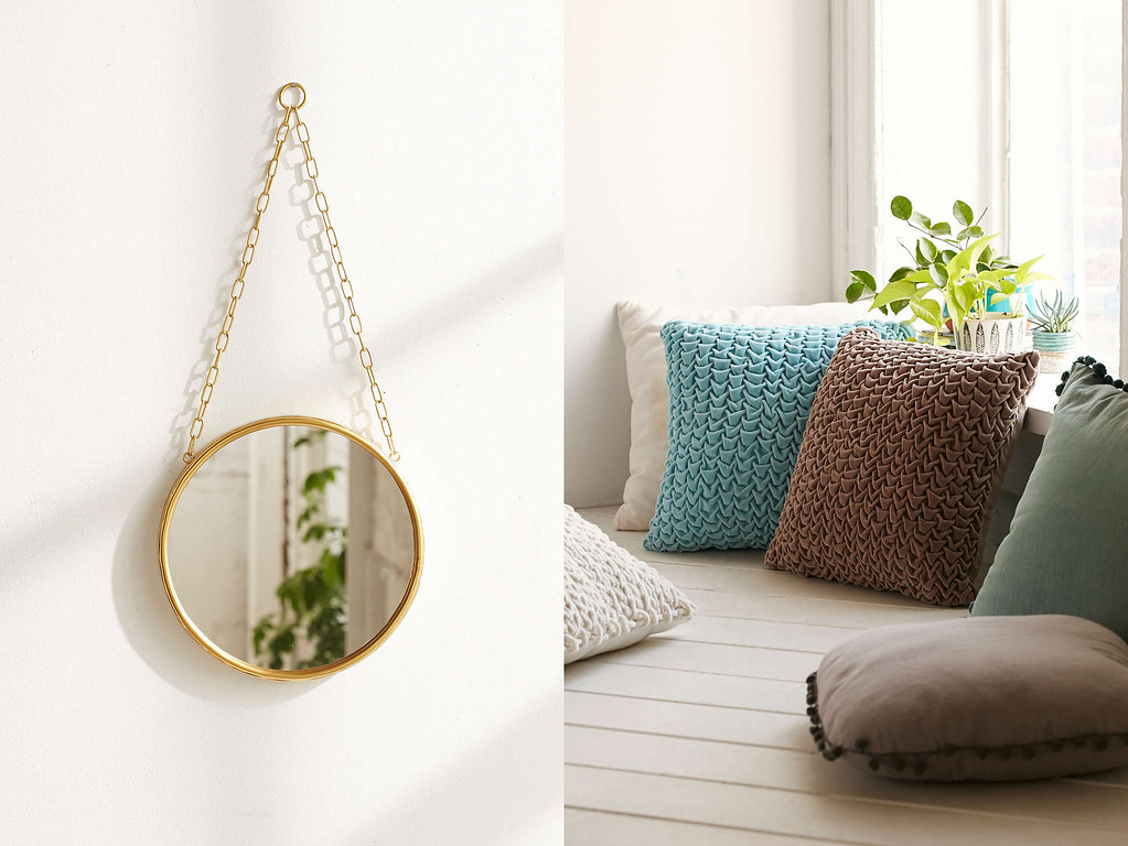 mirror and woven ribbon pillows from urban outfitters