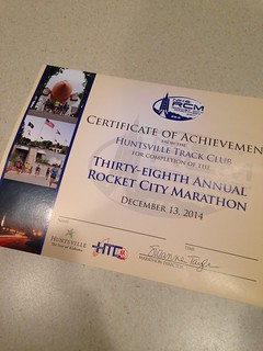 Rocket City Marathon Finisher Certificate