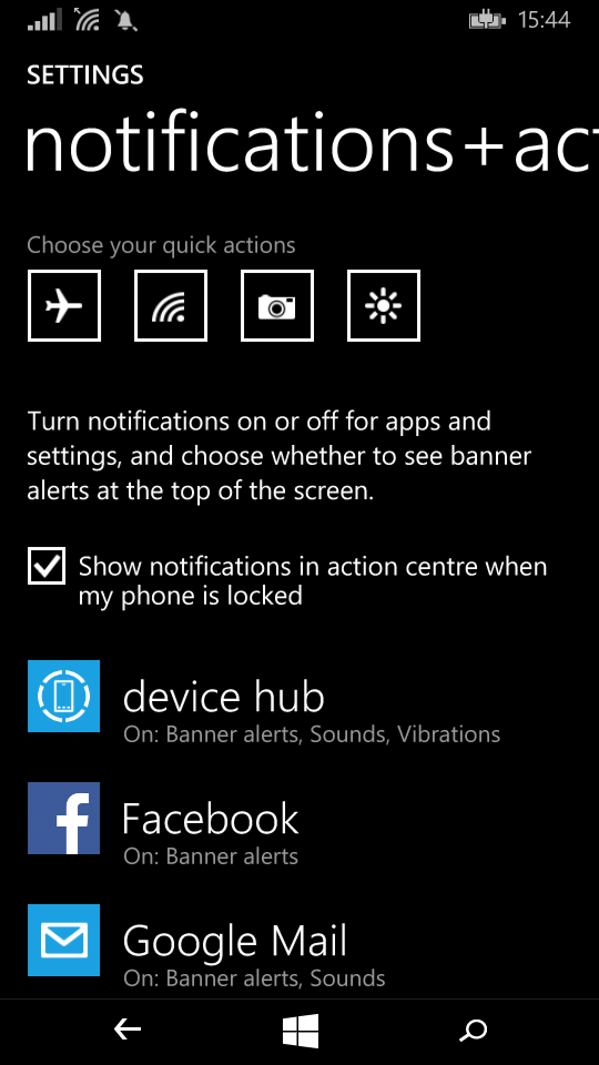 Notifications options general