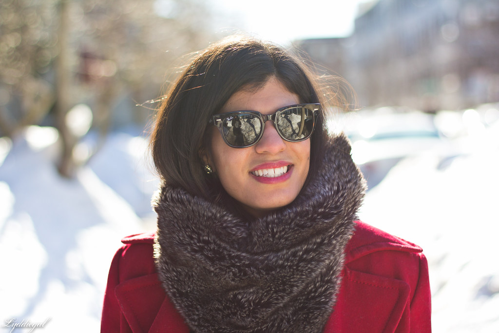 red peacoat, furry cowl, distressed jeans-7.jpg