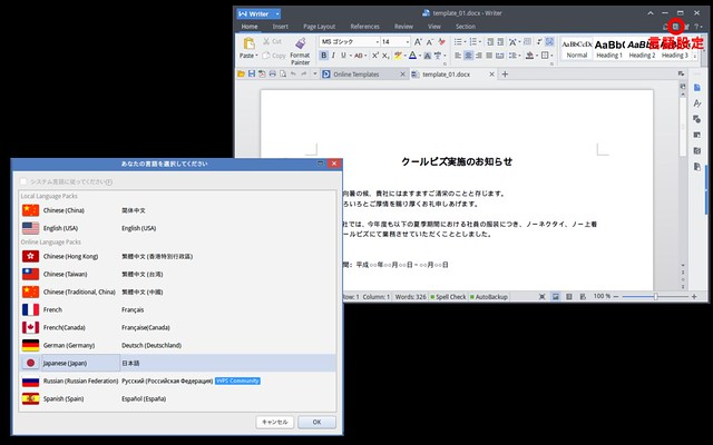WPS Writer japanese setting