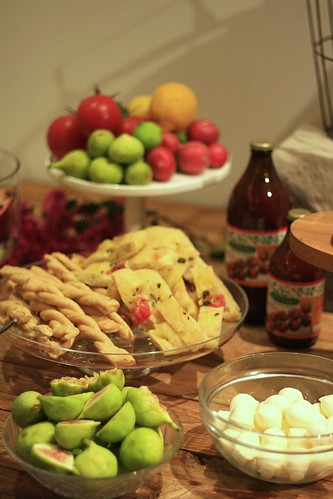 Food table at the Sofia Capri store opening