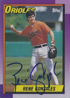 1990 Topps - Rene Gonzales #787 (Third Baseman / Outfielder) - Autographed Baseball Card (Baltimore Orioles)
