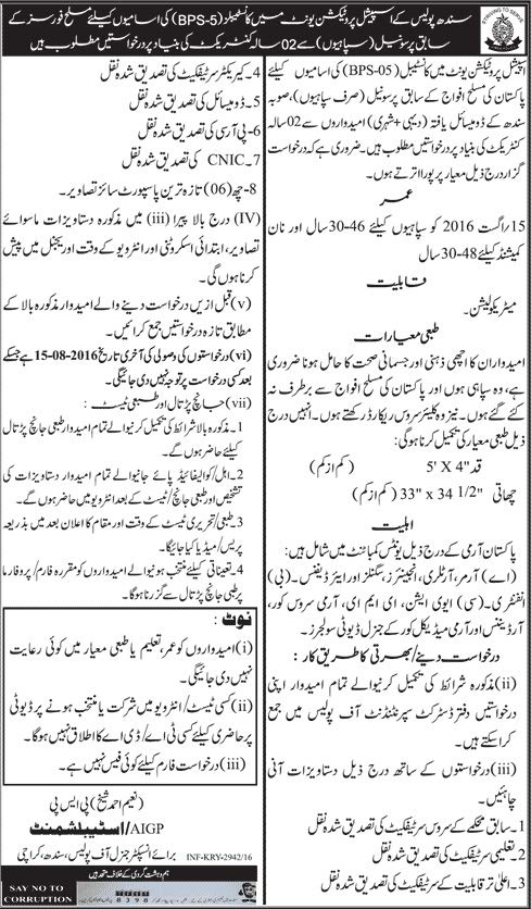 Special Protection Unit Sindh Constables Jobs