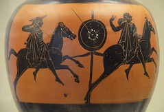 Black-figure Panathenaic prize amphora for Panathenaic Games equestrian event (javelin throwing at the gallop), ca. 420-400 BC, attributed to the Kuban group, from Benghazi (Libya), British Museum